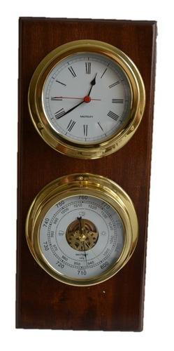 reloj y barometro bronce