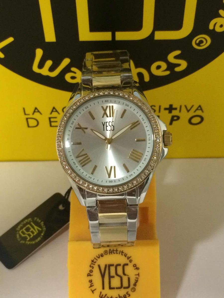 400f0af0e814 reloj yess dama sm7042 color plateado enchape dorado 18k. Cargando zoom.