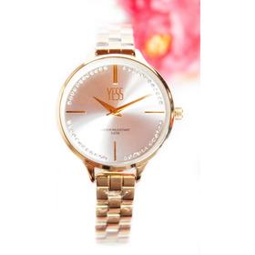 Reloj Yess Original Dama Oro Rosa + Envío Gratis