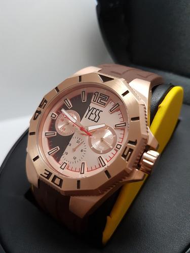 reloj yess ztw2749 original para hombre cafe con oro rosa