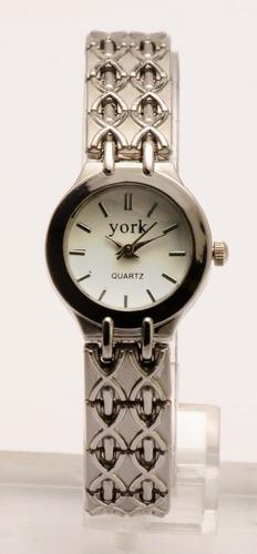 reloj york quartz dama acero clásico estuche garantía 12m.