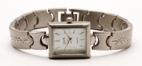 reloj york square dama acero clásico estuche garantía 12m.
