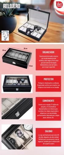 relojero alhajero organizador almacena hasta 12 relojes