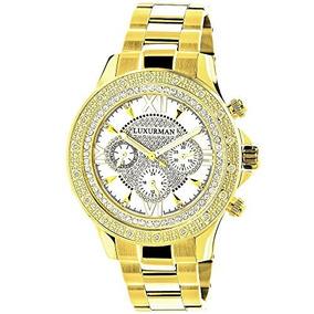2ct Reloj Amarillo 0 Luxurman Hombre Oro Diamante Tono Para wPZuOkXiT