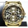 Reloj Guess Marciano M18501l1 Dorado Animalprint De Dama