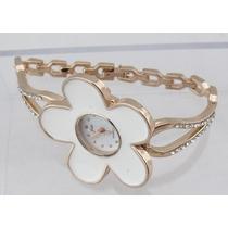Reloj De Pulsera Mujer, Flower Style, Piedras Tipo Diamantes