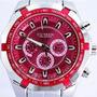 Reloj Curren Plateado Con Rojo , Nuevo