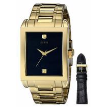 Reloj Guess U0206g1 Correa De Cuero Y Acero Nuevo En Caja