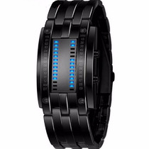 Reloj Deportivo Binario Led Azul Metalico Acero Inoxidable