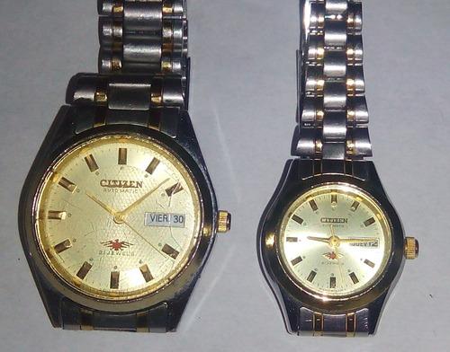 relojes citizen pareja dama-caballero 21 jewels !excelentes¡