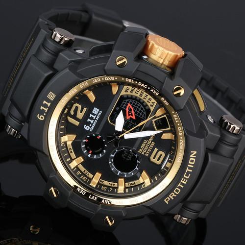 relojes de cuarzo digital analógico deportivo para hombres