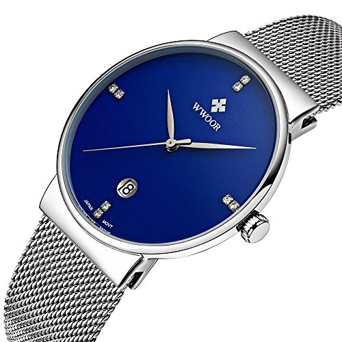 0d3c2755616e Relojes De Esfera Azul Para Hombres Fecha De Moda Pulsera De ...