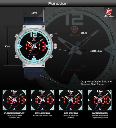 f42e6b6499f4 Relojes De Lujo Shark Militar Impermeable B cuero (a Pedido) - S ...