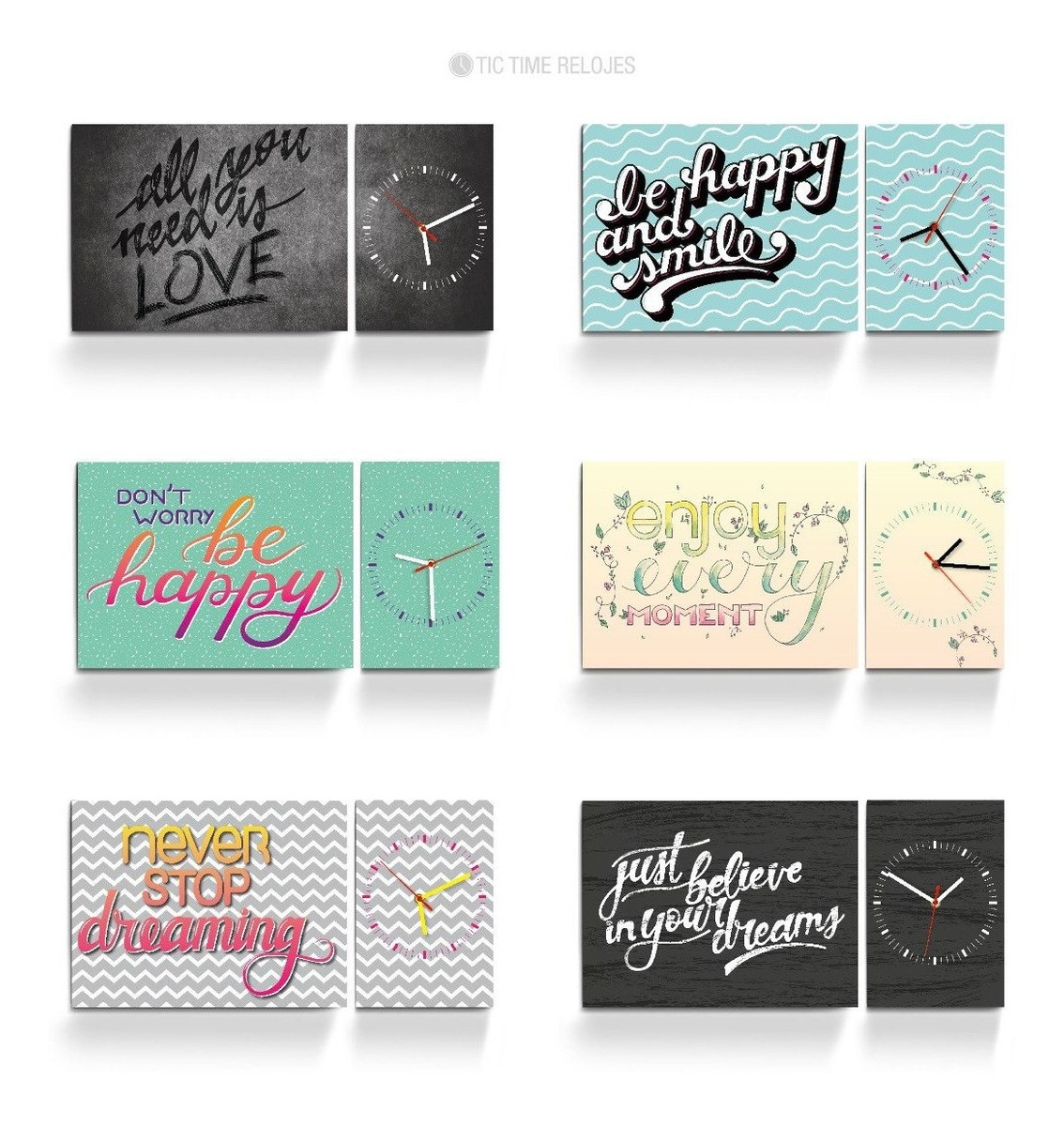 Relojes De Pared Dipticos Diseño Moderno Frases Lettering