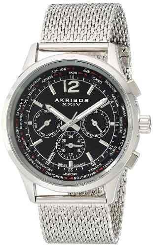relojes de pulsera,reloj akribos xxiv ak716ssb plateado ...