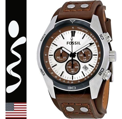 relojes fossil ch2565 cuero cronograf original nuevo en caja