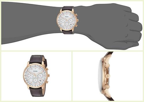 relojes fossil fs5415 cuero cronograf original nuevo en caja