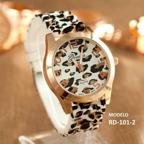relojes geneva animal print leopard - precio mayor (6 pzas)