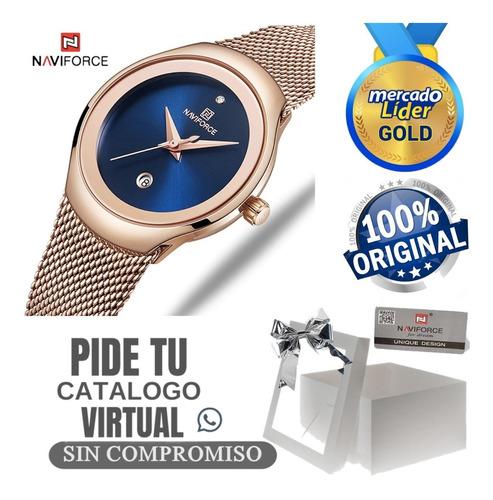 relojes mujer naviforce originales correa acero cuero + caja