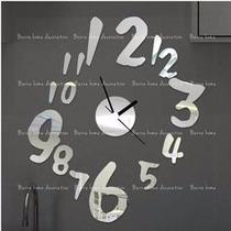 Reloj Mural 3d Hojas Negro Y Plata - Regalo Navidad