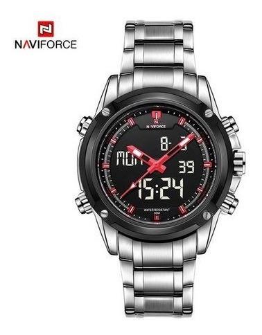 relojes naviforce acero inoxidable alarma luz cronometro