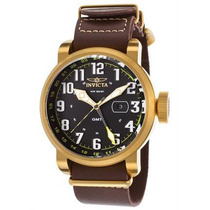 Reloj Invicta 18888 Aviator Gmt Brown Genuine Leather Hombre