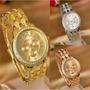 Reloj De Mujer Geneva De Acero Inoxidable Con Piedras