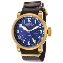 Reloj Invicta 18889 Es Aviator Gmt Black Genuine Leather