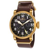 Reloj Invicta 18888 Es Aviator Gmt Brown Genuine Leather