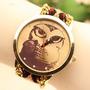Relojes Hermos Diseño De Buho Tejido A Mano Fotos Reales