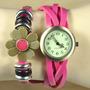 Reloj Dama Mujer Cuero Brasalete Bisuteria Foto Real Promo