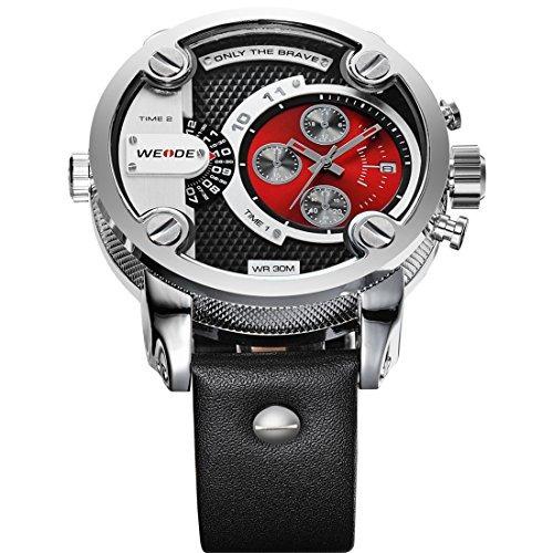 relojes weide reloj de pulsera de cuero de marca de lu w71