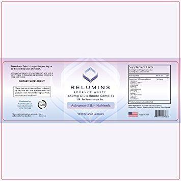 relumins avance blanca 1650mg glutatión complex - 15x fórm