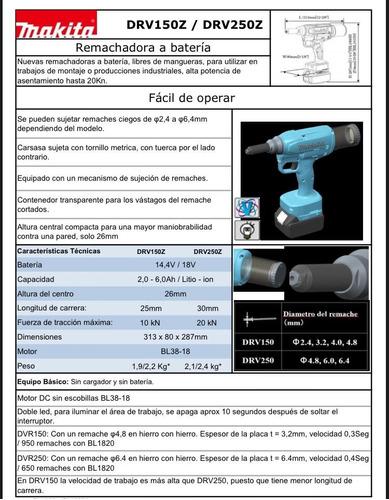 remachadora makita a bateria 18v hasta 6,4 mm (sin bateria)