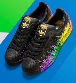 reputable site 325d3 a8bd4 Remate adidas Superstar Negros Pride Pack