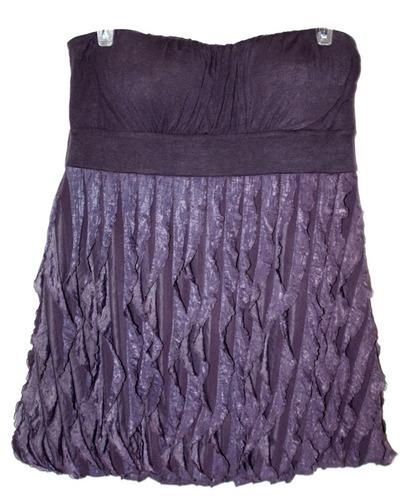 remate blusa bluson strapless con olanes lila xl americana