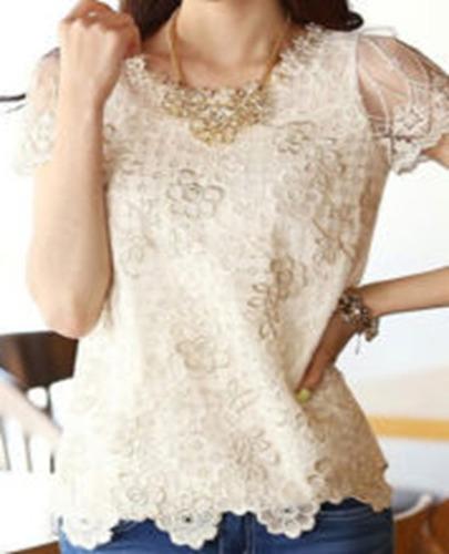 remate blusa mujer en chifon con bordados descuento
