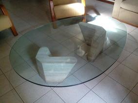 Remate De Mesa De Centro De Lujo De Vidrio Y Bases De Marmol