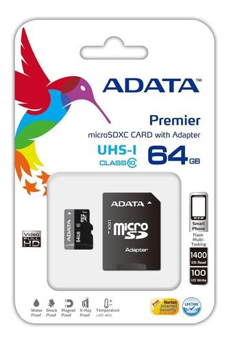 remate micro sd xc adata 64gb uhs-i clase 10 ultra rapida