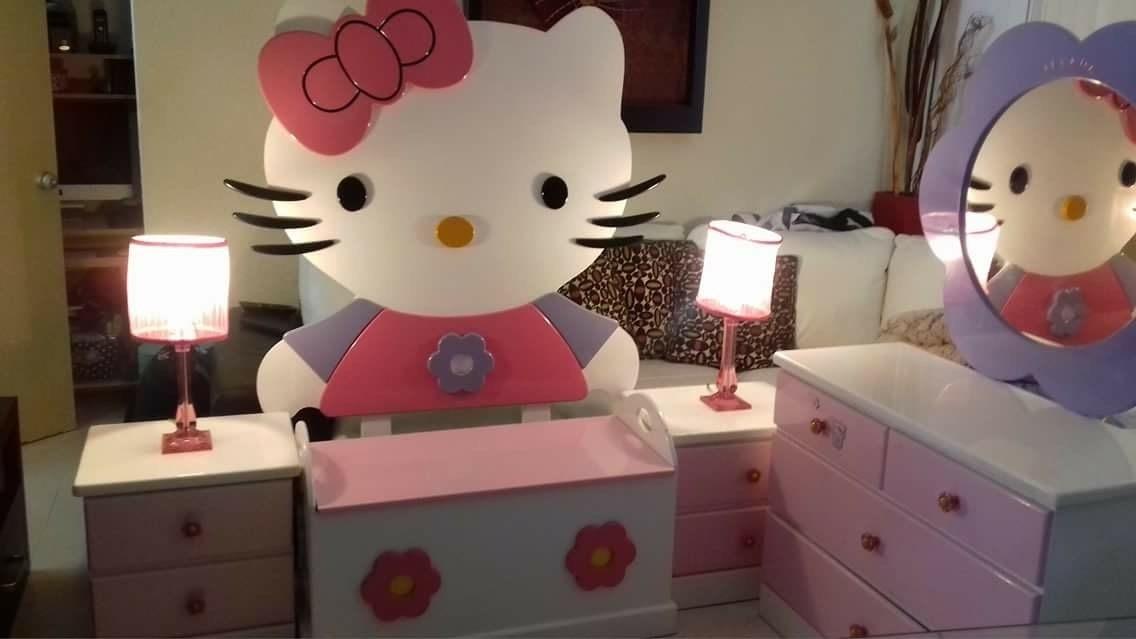 Remate rec mara para ni a ind hello kitty 6 piezas for Muebles para recamara de nina