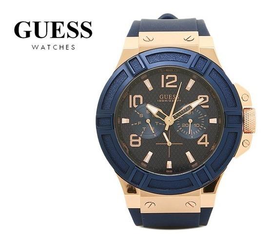 Remate W0247g3 Mens Regalo Guess Azul 2018 Reloj Cronógrafo 53j4LAR