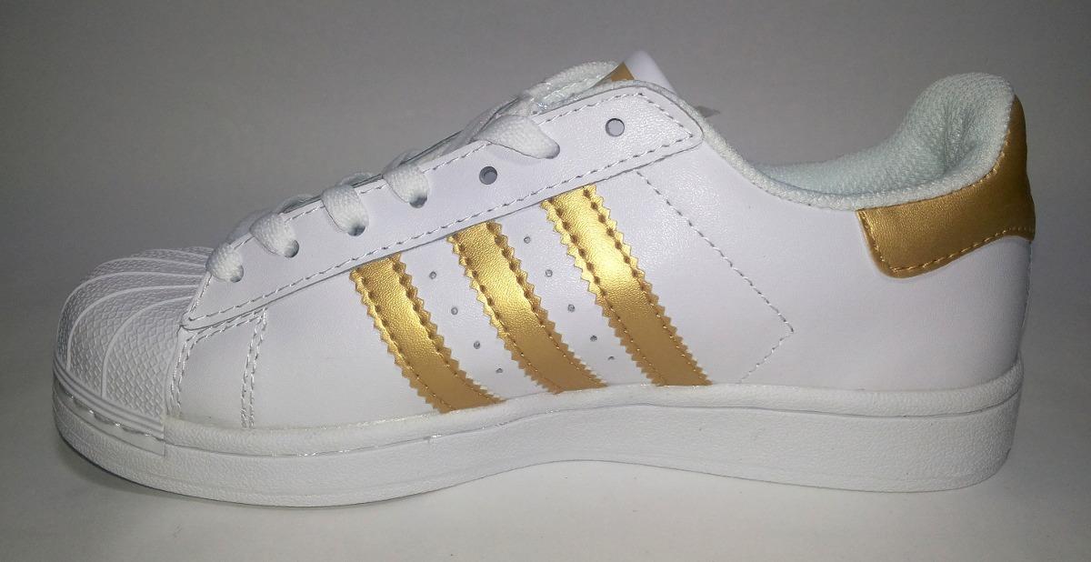 adidas tenis blancos con dorado