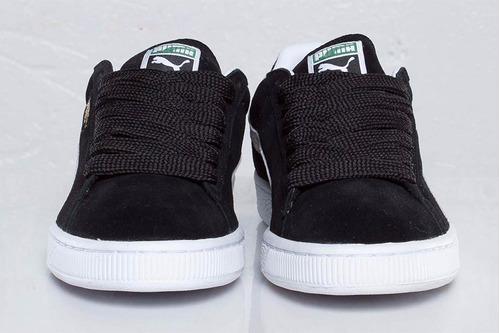 remate zapatillas puma suede clasic negras en caja ndph