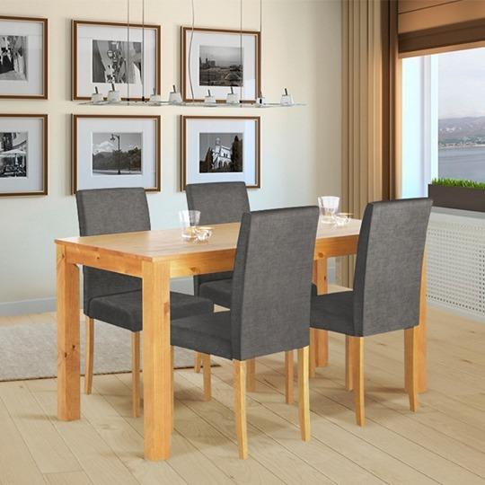 Rematex mx comedor madera retro r stico lino gris 4 sillas 12 en mercado libre - Sillas comedor grises ...