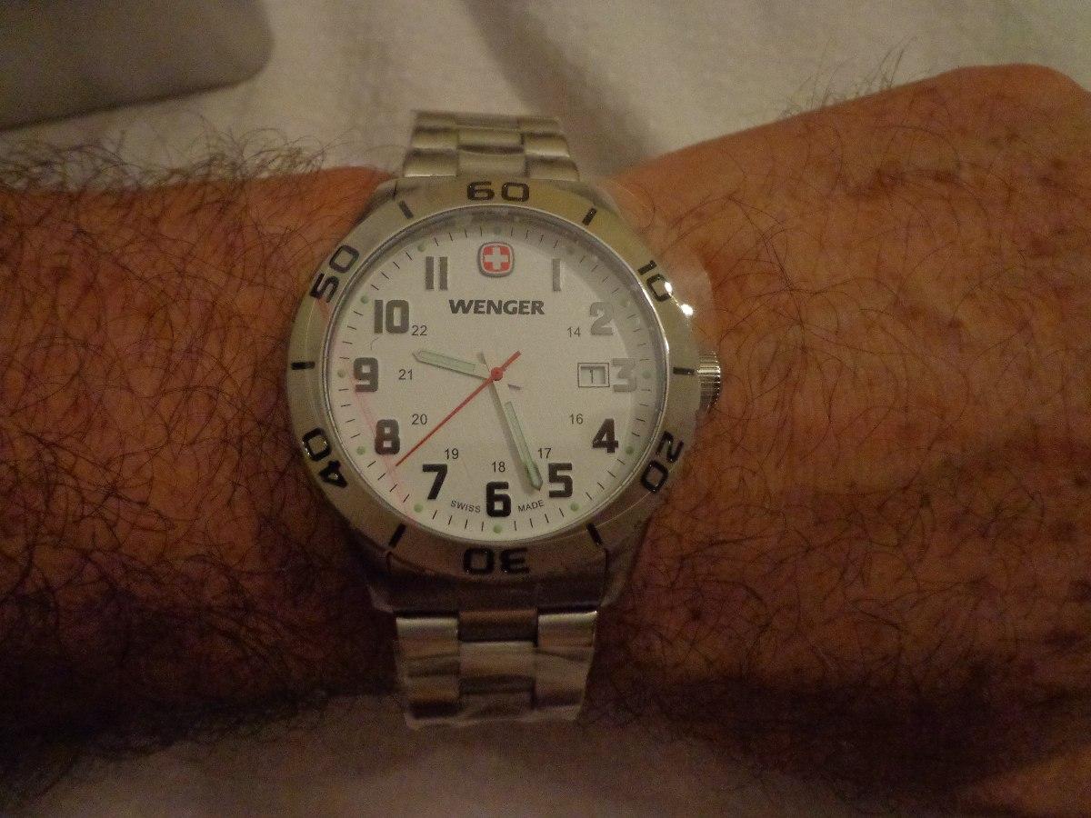 Caballero Wenger Acero Reloj Suizo Remato Original 43mm QrthdsC