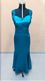 Remato Vestido De Fiesta Noche En Satín Azul Turquesa