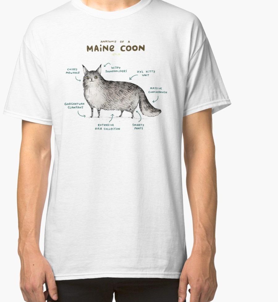 Remera Anatomía De Un Maine Coon - $ 300,00 en Mercado Libre