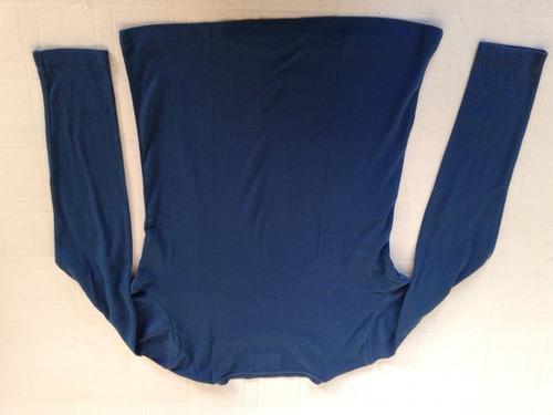 remera azul manga larga  talle m de algodon