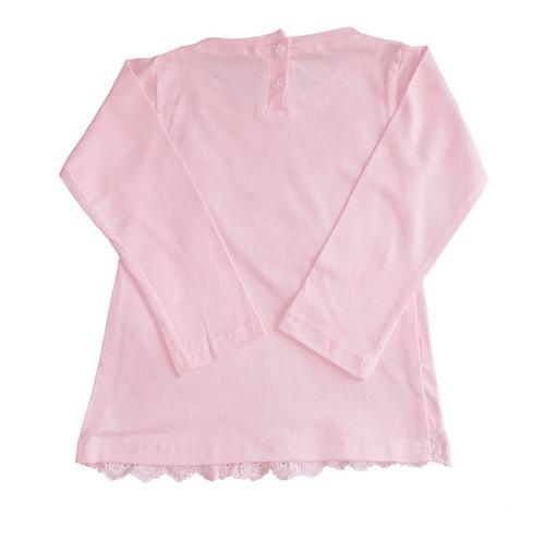 remera bebe manga larga con encaje broderie  moño rosa claro