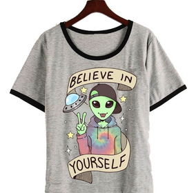 a9d01b88a Remera Believe In Yourself Alien Ufo Moda Hipster Harajuku